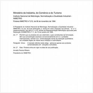 Visualizar: Portaria INMETRO/MICT 212:1994 - Situação: Em vigor