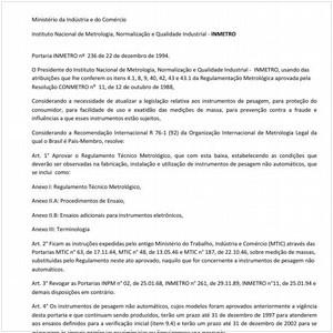 Visualizar: Portaria INMETRO/MICT 236:1994 - Situação: Revisto