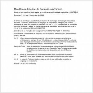 Visualizar: Portaria INMETRO/MICT 101:1995 - Situação: Em vigor