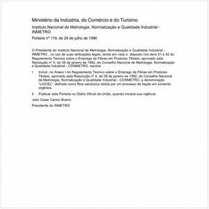 Visualizar: Portaria INMETRO/MICT 119:1996 - Situação: Em vigor