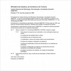 Visualizar: Portaria INMETRO/MICT 157:1996 - Situação: Revogado