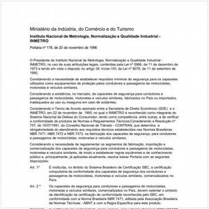 Visualizar: Portaria INMETRO/MICT 178:1996 - Situação: Em vigor