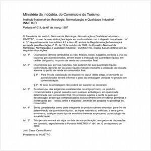 Visualizar: Portaria INMETRO/MICT 19:1997 - Situação: Em vigor