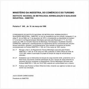 Visualizar: Portaria INMETRO/MICT 48:1998 - Situação: Revogado