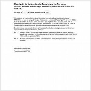 Visualizar: Portaria INMETRO/MICT 123:1997 - Situação: Em vigor