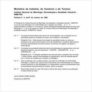 Visualizar: Portaria INMETRO/MICT 5:1998 - Situação: Revisto