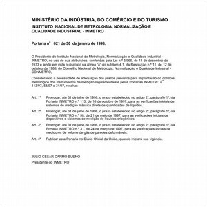 Visualizar: Portaria INMETRO/MICT 21:1998 - Situação: Em vigor