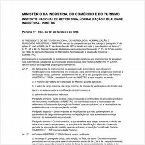 Visualizar: Portaria INMETRO/MICT 33:1998 - Situação: Revisto