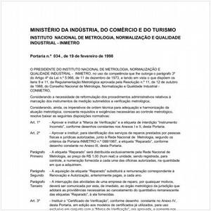 Visualizar: Portaria INMETRO/MICT 34:1998 - Situação: Revogado