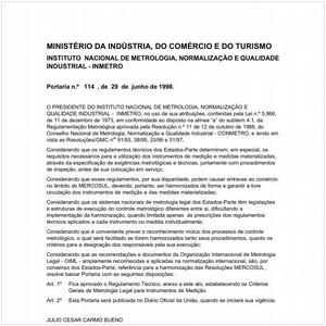 Visualizar: Portaria INMETRO/MICT 114:1998 - Situação: Em vigor