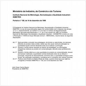 Visualizar: Portaria INMETRO/MICT 180:1998 - Situação: Em vigor
