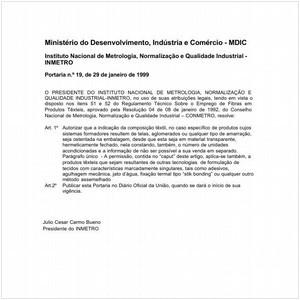 Visualizar: Portaria INMETRO/MDIC 19:1999 - Situação: Em vigor