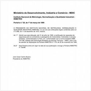 Visualizar: Portaria INMETRO/MDIC 26:1999 - Situação: Revisto