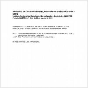 Visualizar: Portaria INMETRO/MDIC 94:1999 - Situação: Revisto