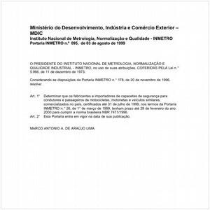 Visualizar: Portaria INMETRO/MDIC 95:1999 - Situação: Em vigor