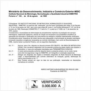 Visualizar: Portaria INMETRO/MDIC 100:1999 - Situação: Revisto