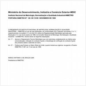 Visualizar: Portaria INMETRO/MDIC 126:1999 - Situação: Revisto