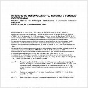 Visualizar: Portaria INMETRO/MDIC 144:1999 - Situação: Em vigor