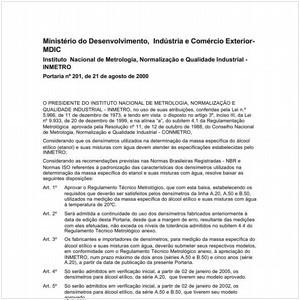 Visualizar: Portaria INMETRO/MDIC 201:2000 - Situação: Revisto