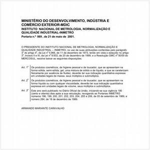 Visualizar: Portaria INMETRO/MDIC 69:2001 - Situação: Em vigor