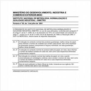 Visualizar: Portaria INMETRO/MDIC 95:2001 - Situação: Em vigor