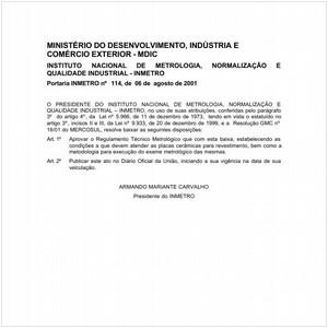 Visualizar: Portaria INMETRO/MDIC 114:2001 - Situação: Revisto