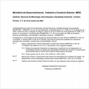 Visualizar: Portaria INMETRO/MDIC 3:2002 - Situação: Revogado